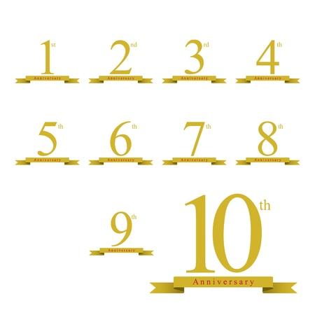 1-10 years anniversary 矢量图像