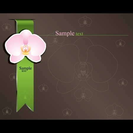 Pink orchid and green ribbon on dark brown background Stock Vector - 14558482