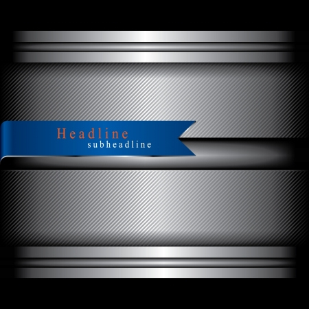 Metal background and blue ribbon Vector