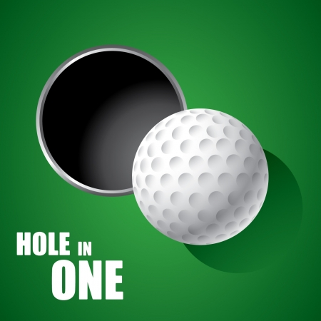 illustrating: Golf Ball sul bordo del foro Vettoriali