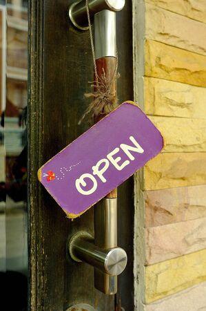 Hang tags open the door Stock Photo - 14793409
