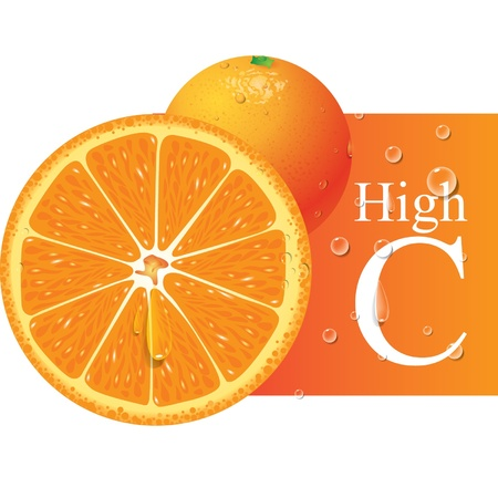 Orange High Vitamin C  Illustration