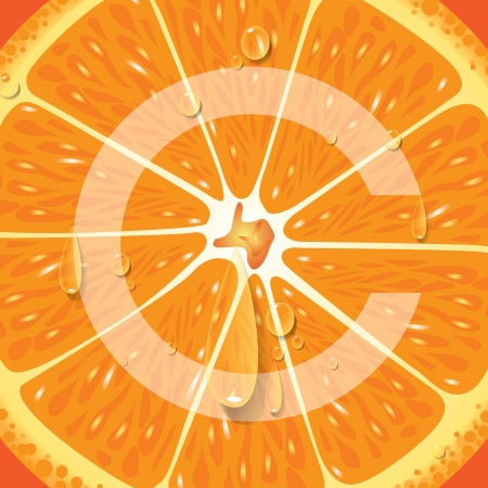 vitamin c: Orange High Vitamin C  Illustration