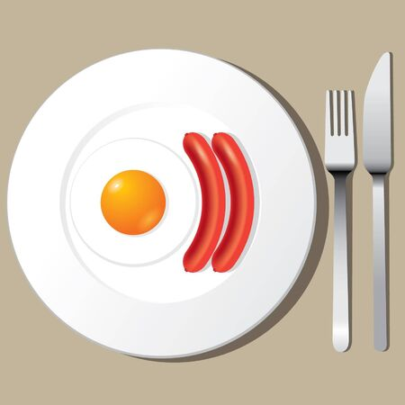 Fried egg and Sausage on a plate with flatware Vector