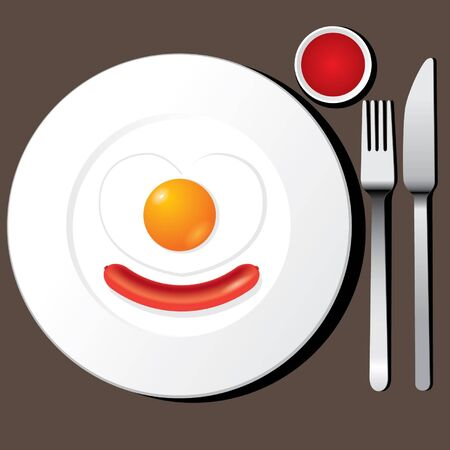 flatware: Fried egg and Sausage on a plate with flatware