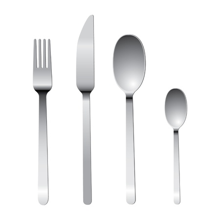 cutlery set with fork, knife and spoon 免版税图像 - 15143823