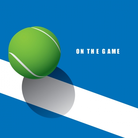Una pelota de tenis en la línea