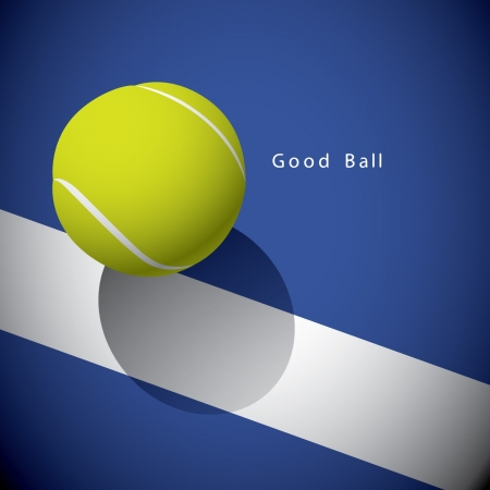 A tennis ball on the line 矢量图像