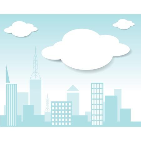 Vector città e nube Archivio Fotografico - 15558160