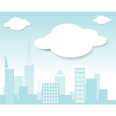 Vector city and cloud  Stock Vector - 15558160