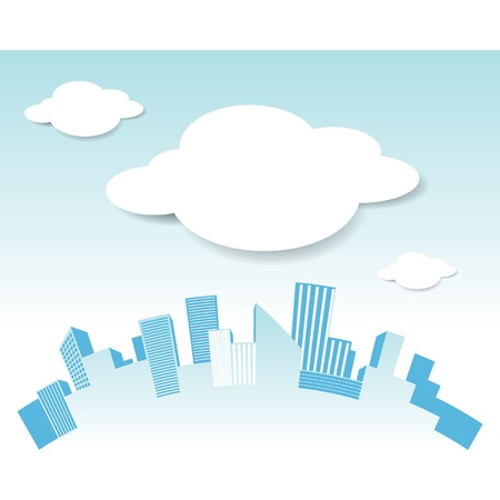 Vector city and cloud Stock Vector - 15558165