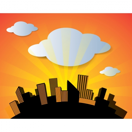 Vector city in sunset background vector image  Vector