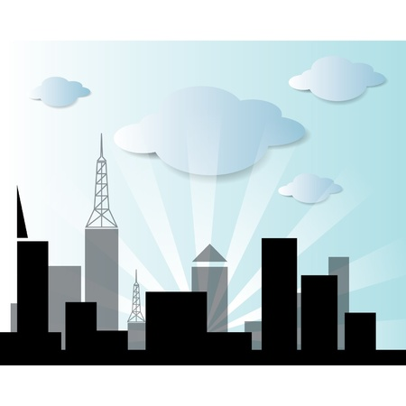 Vector city and cloud Stock Vector - 15558140