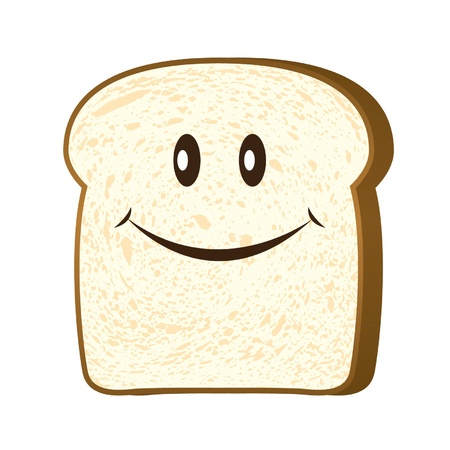 Bread slice isolated on white vector  Illustration