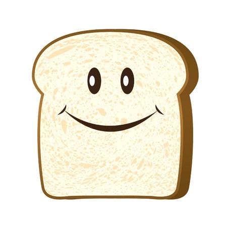 Rebanada de pan aislada en el vector blanco