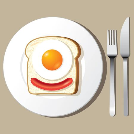 Toast with fried egg on white plate fork and knife vector  Vector