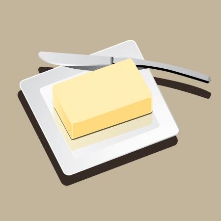 mantequilla: mantequilla en un plato blanco con cuchillo vector Vectores