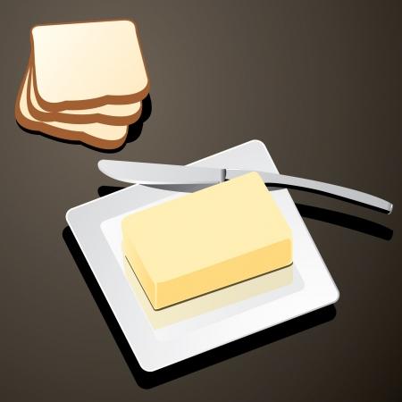 pan con mantequilla: mantequilla en un plato blanco con cuchillo y pan vector