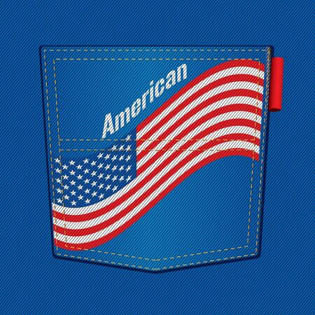 USA Flag Blue Jean Pocket Stock Vector - 15558143