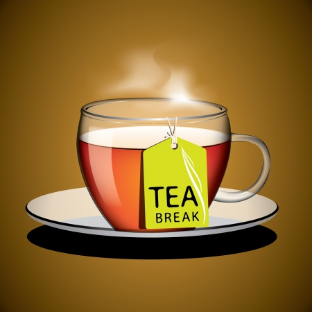Cup of tea with tag vector Vector
