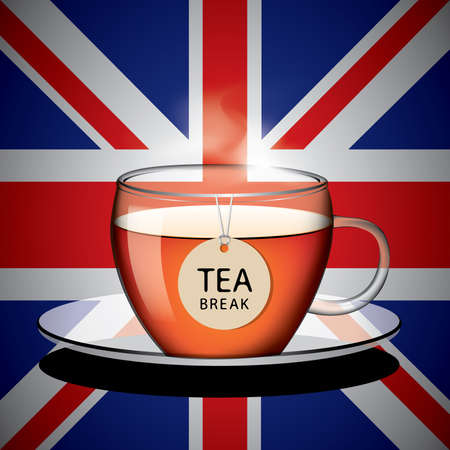 english tea: Cup of English tea with tag vector