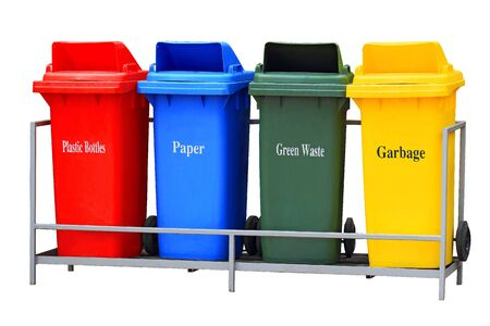 Colorful Recycle Bins Isolated Stock Photo - 15806975
