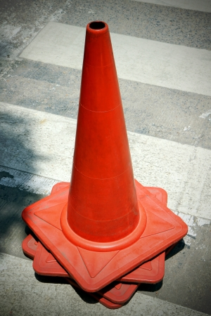 trafic stop: group old traffic cone