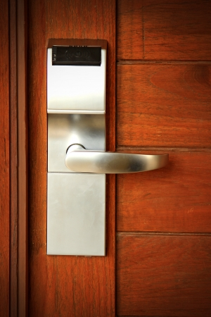 Electronic lock on door photo