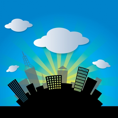 city and cloud  Vector