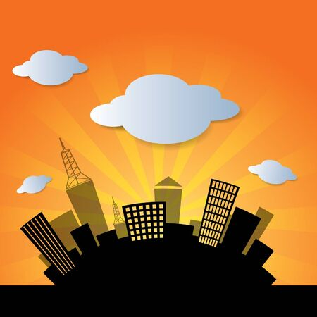 city in sunset background image  Vector