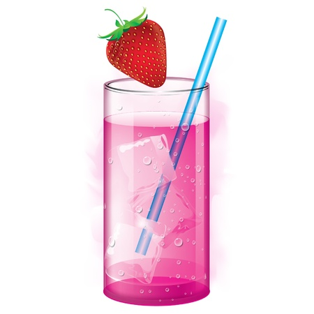 fizz: Cocktail with Strawberry juice and ice cubes