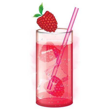 cubos de hielo: C�ctel con jugo de frambuesa y cubitos de hielo