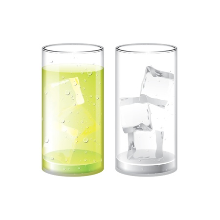 Glass of Lemon juice and empty glass with ice Stock Vector - 16476431