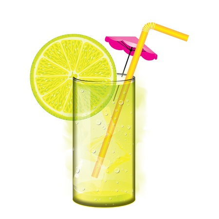 Cocktail with lemon juice and ice cubes Vector