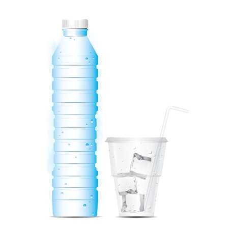 bottle of water with glass and ice Illustration