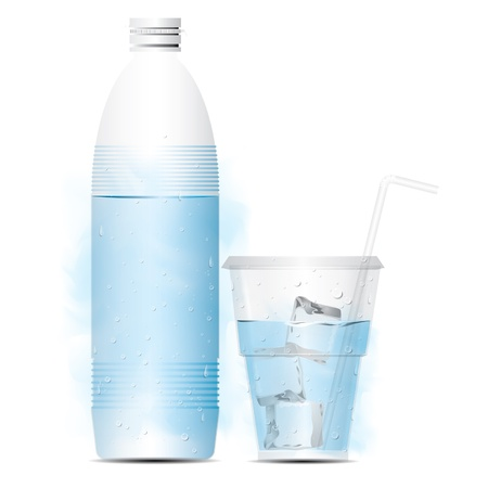 purified: bottle of water with glass and ice Illustration