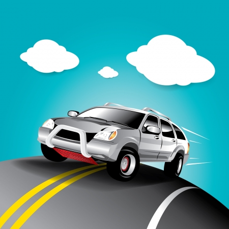 Vector car in the road Stock Vector - 16644230