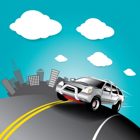 Vector car in the road Stock Vector - 16644239
