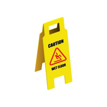 wet floor sign: Vector sign caution wet floor Illustration