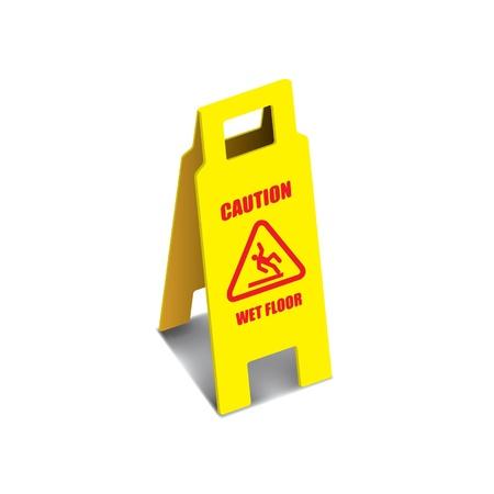 wet floor caution sign: Vector signo precauci�n piso mojado Vectores