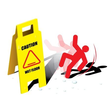 Vector sign caution wet floor Ilustração
