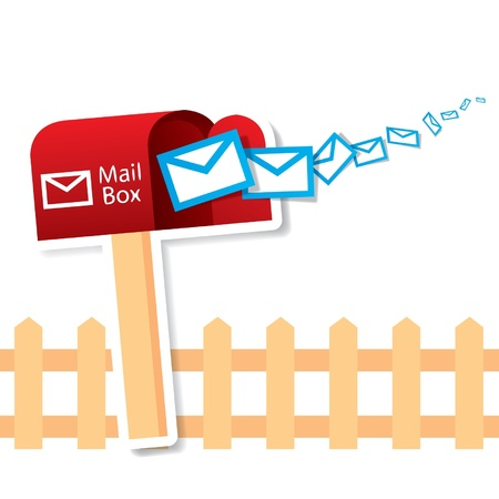 Vector red mailbox with express mails Vector