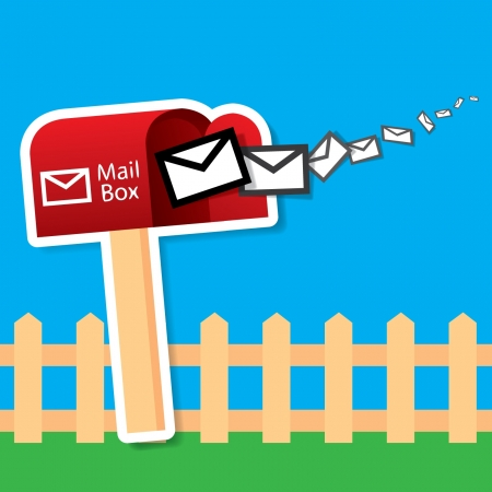 await: Vector red mailbox with express mails Illustration