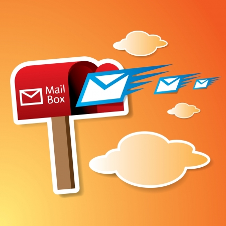 Vector red mailbox with express mails Stock Vector - 16644229