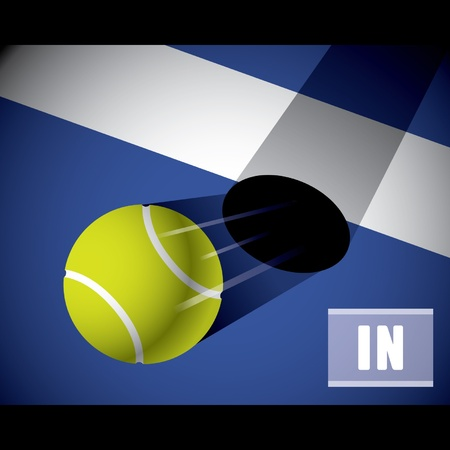 A tennis ball on the line Vector