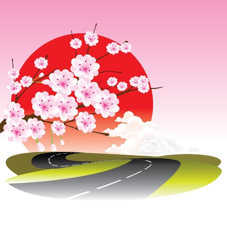 vector Kirschblüte und Straße