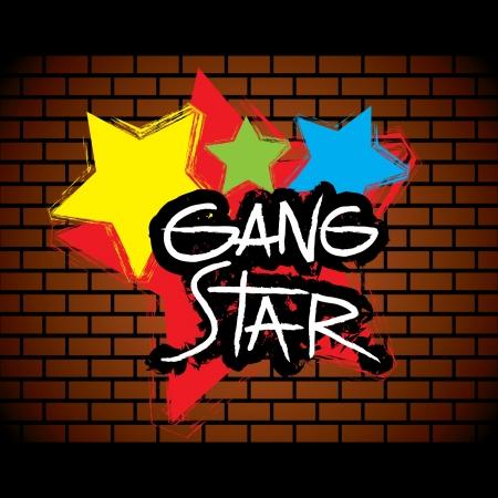갱: Brick wall gang star graffitti - vector 일러스트