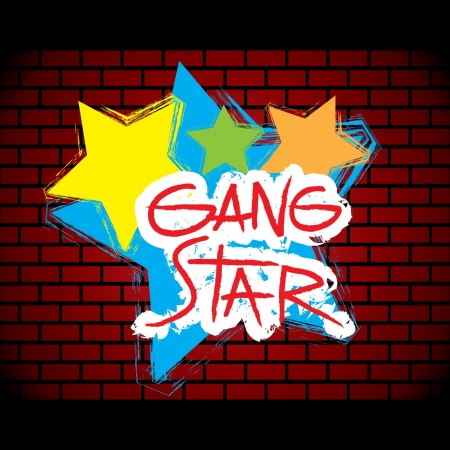 disrespectful: Brick wall gang star graffitti - vector Illustration