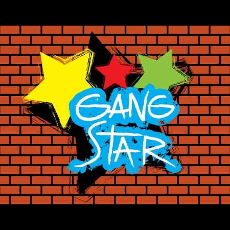 defaced: Brick wall gang star graffitti - vector Illustration