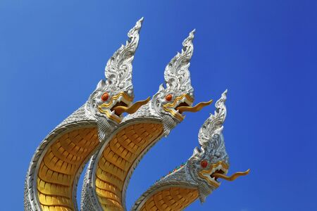 3 Heads of the serpent in the temple of Thailand  photo
